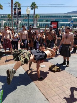 I couldn't find kilted yoga when I was in Scotland, but found it at Comic-Con.